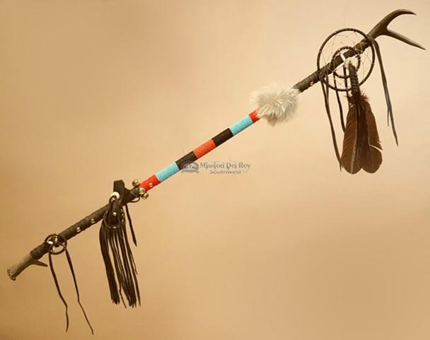 Native American Antler Medicine Staff - Tigua