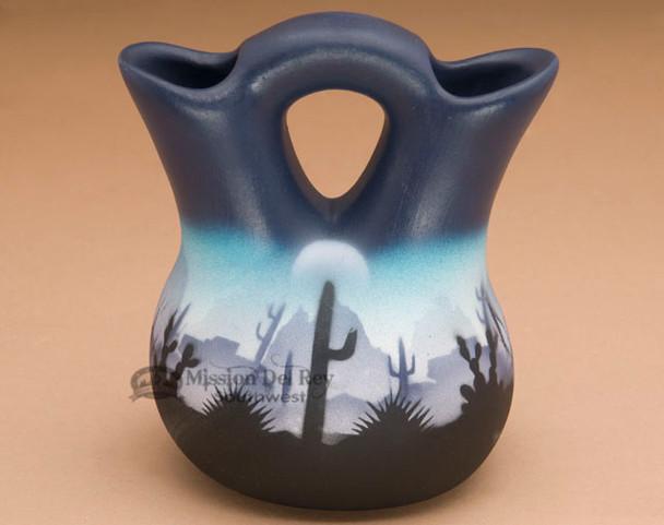 Painted Navajo Wedding Vase -Desert Blue