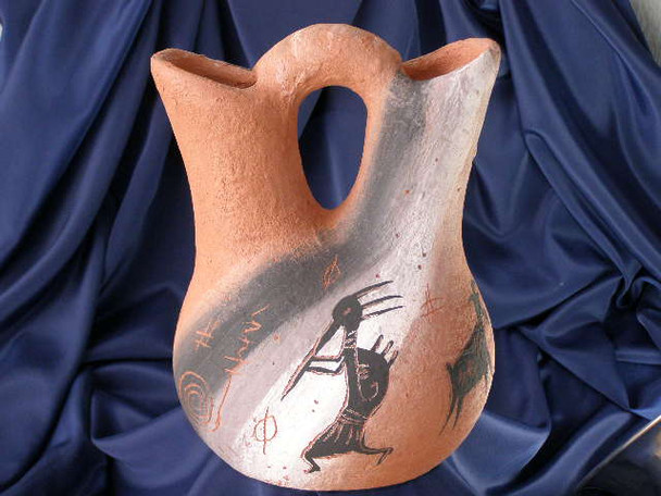"Native American Wedding Vase 8.5"" -Etched Rock Art (94)"