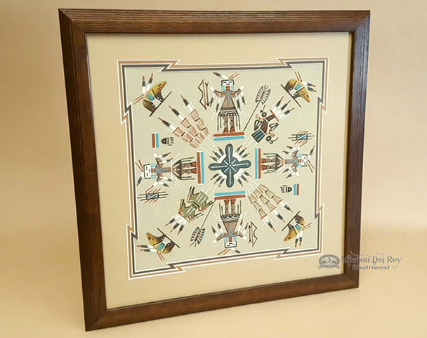 Authentic Framed Sand Painting  -Navajo
