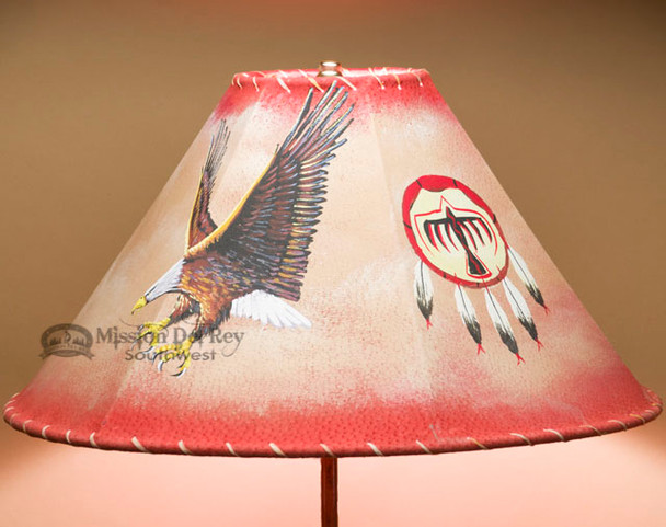 "Rustic Western Leather Lampshade 18"" -Eagle"