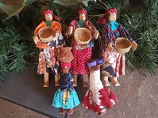 Tarahumara Dolls 5 Piece Ornament Set