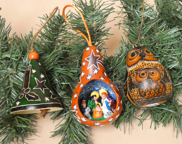 Etched Gourd Ornaments - 3 piece set
