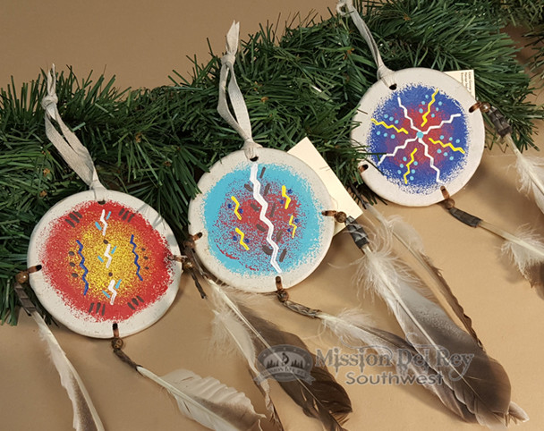 Native American Painted Leather Ornaments - shields