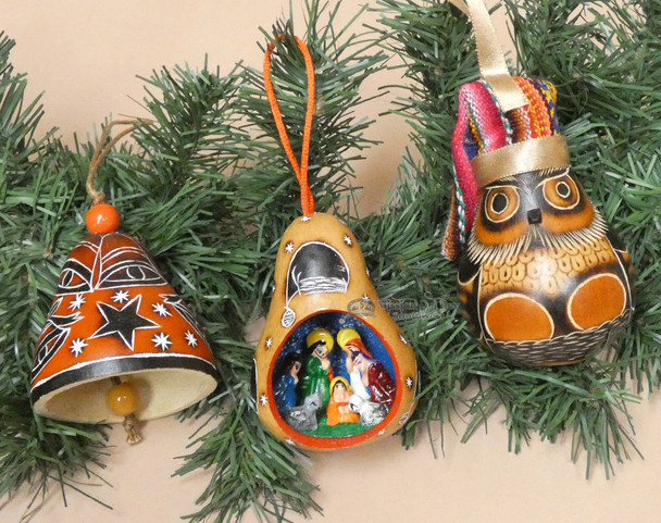 Etched Gourd Ornaments - Andean 3 Piece Set