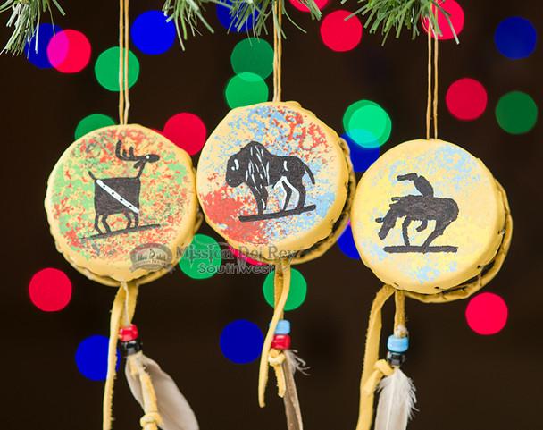 3 Piece Shoshone Drum Ornament Set