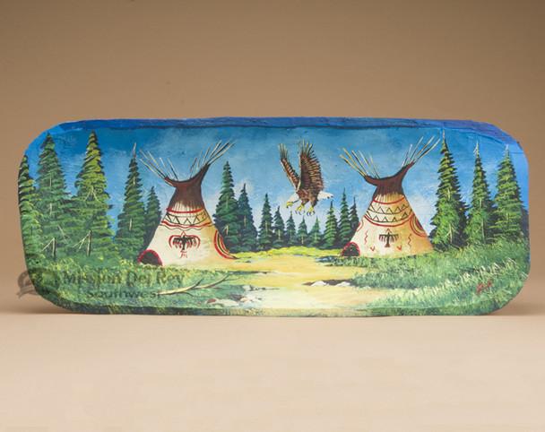 Hand Painted Log Bowl - Eagle/Indian Village