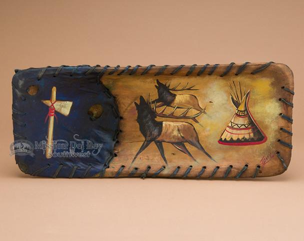 Rawhide Laced Painted Wooden Bowl - Elks