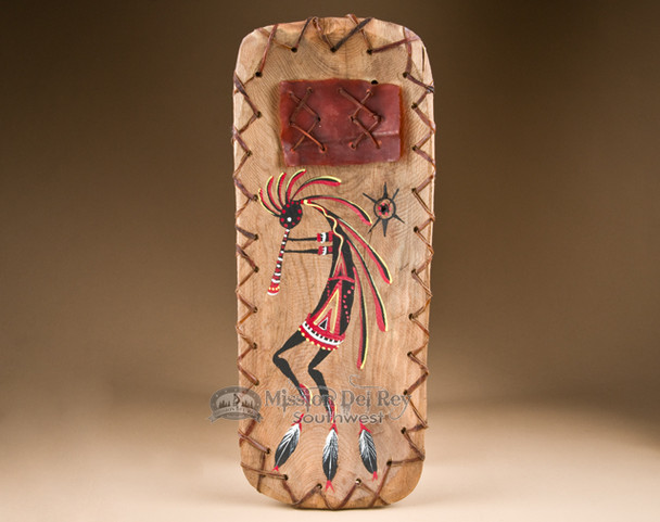 Rawhide and Laced Painted Bowl - Kokopelli