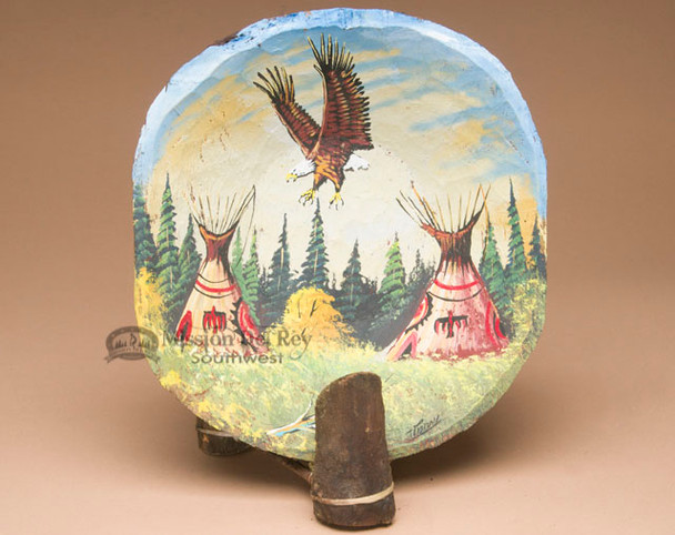Painted Wooden Bowl & Stand -Indian Village