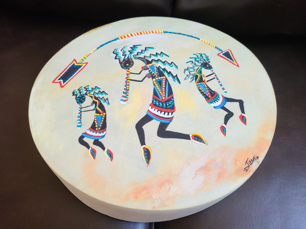 "Hand Painted One-Sided Drum - Kokopelli Trio 16"""