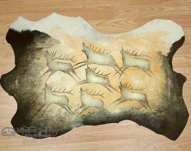 Cow Hide Painted - Elk Cave Art