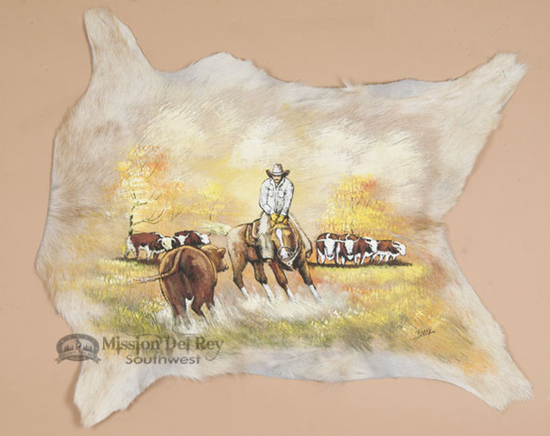 "Western Painted Hair On Hide 29.5""x25"" - Cow Puncher"