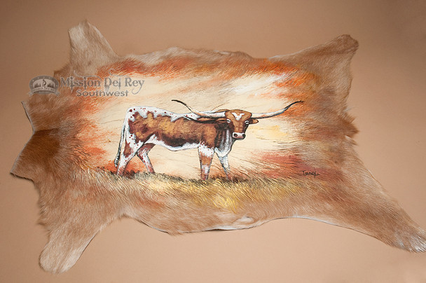 Painted by Hand Goat Hide - Bull