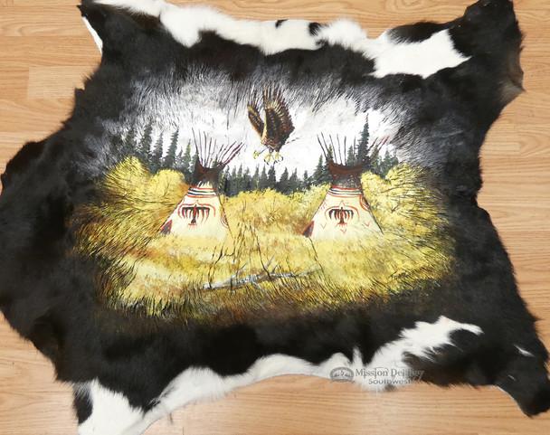 Southwest Decor Painted Cow Hide - Indian Village