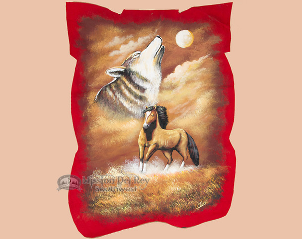 Painted Red Pig Skin Leather -Horse & Wolf