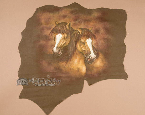Painted Leather Hide - Horses