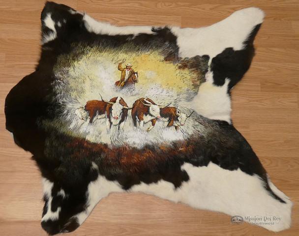Hand Painted Western Cow Hide - Cowboy