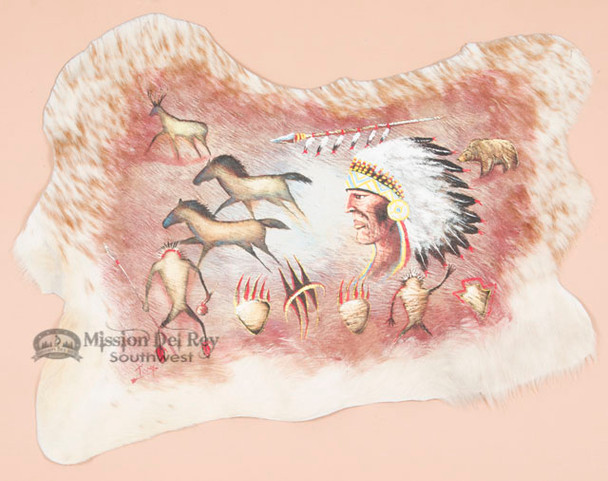 Southwestern Hand Painted Cow Hide - Chief