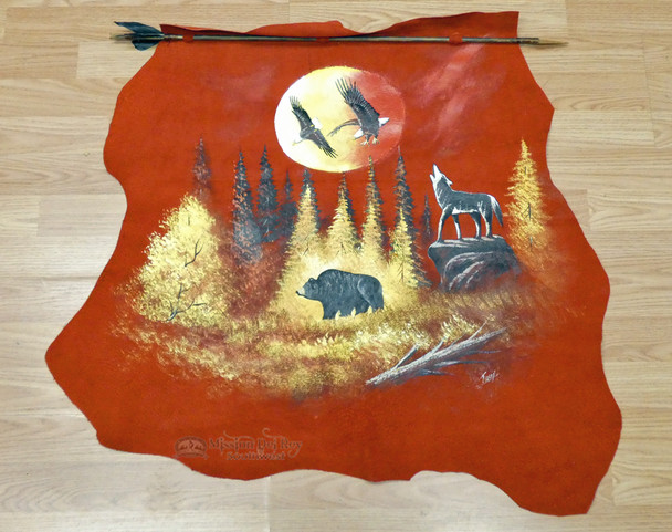 Hand Painted Leather on Indian Arrow - Woodland Sunset