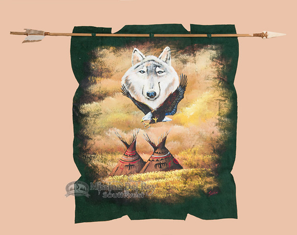 Navajo Arrow with Painted Green Leather - Indian Village/Wolf