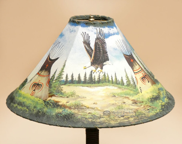 "Southwest Leather Lamp Shade 22"" -Indian Village"