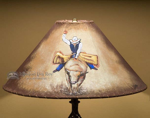 "Painted Leather Lamp Shade 20"" -Bull Rider"