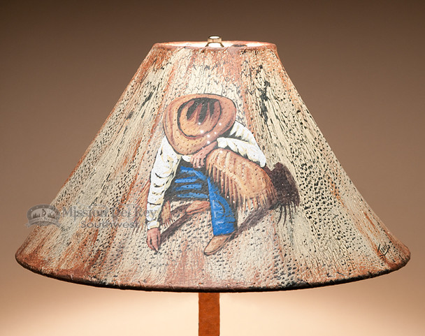"""Painted Leather Lamp Shade 18"""" -Cowboy"""