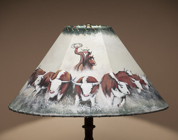 Western painted leather lampshade - Cattledrive.