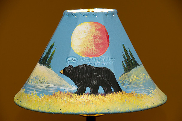 """Painted Leather Lamp Shade 15"""" -Black Bear"""
