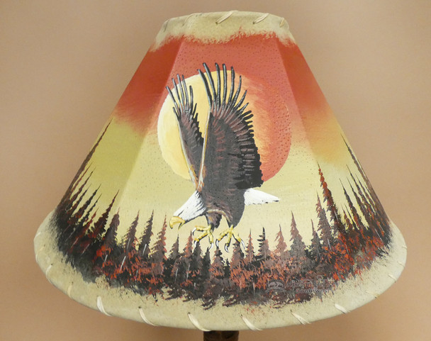 "Painted Leather Lamp Shade 16"" -Sunset Eagle"