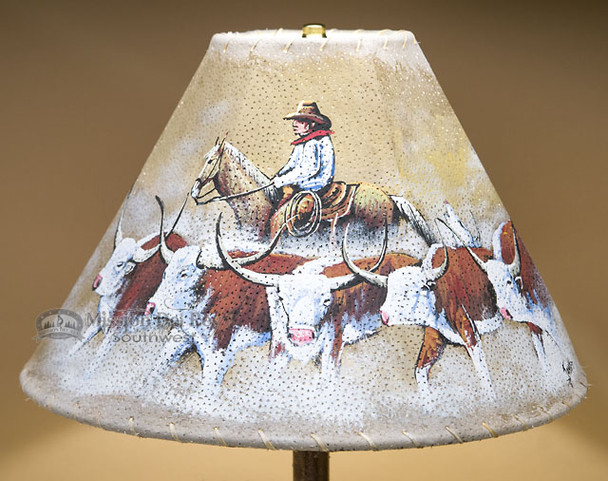 """Painted Leather Lamp Shade -Cowboy Cattle Drive 15"""""""
