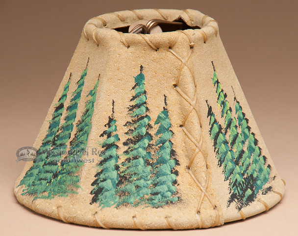 """Painted Leather Chandelier Lamp Shade - Ponderosa Pines 6"""""""