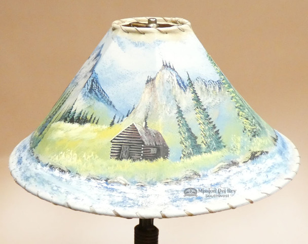 """20"""" Painted Pigskin Lamp Shade -Cabin (pl18)"""