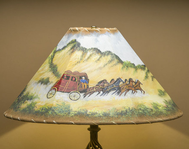 "20"" Painted Leather Lamp Shade -Stage Coach"