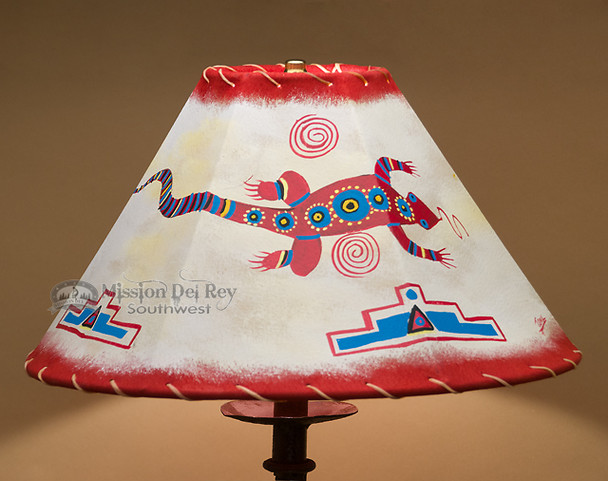 """Painted Leather Lamp Shade - 16"""" Lizard"""