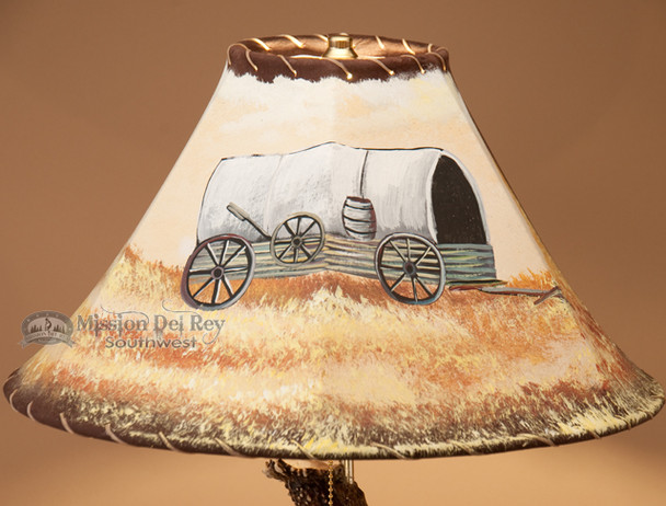 "Painted Leather Lamp Shade - 16"" Wagon"