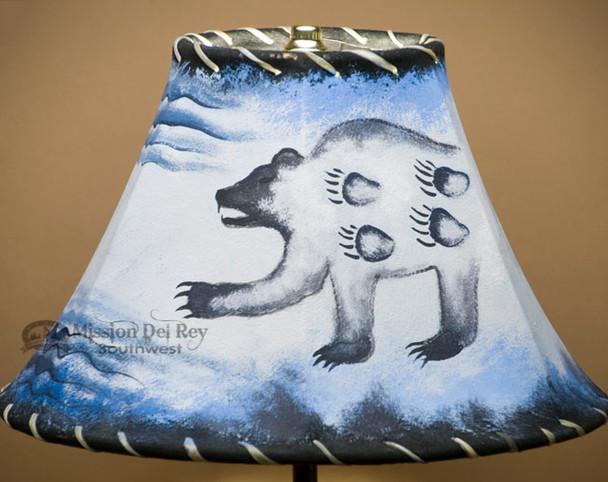 "Painted Leather Lamp Shade - 12"" -Spirit Bear"
