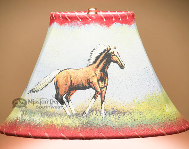 """Painted Leather Lamp Shade - 12"""" -Mustang"""