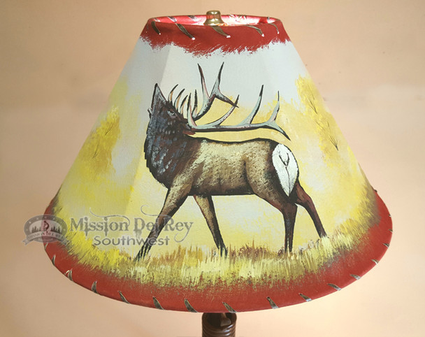 Painted Leather Lamp Shade -Elk