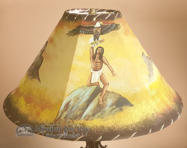 """Painted Leather Lamp Shade 20"""" -Indian Eagle"""