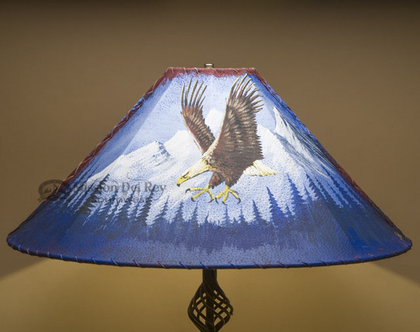 """Painted Leather Lamp Shade 24"""" -Mountain Eagle"""