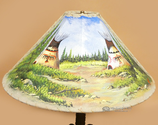 Painted Leather Lampshade 24""