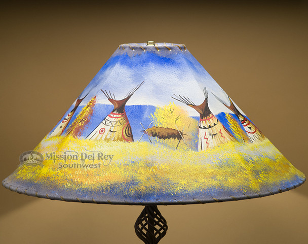 """Painted Leather Lamp Shade 24"""" -Indian Village"""