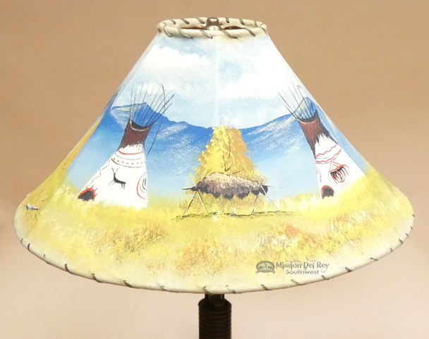 """Painted Leather Lamp Shade 20"""" -Indian Village"""