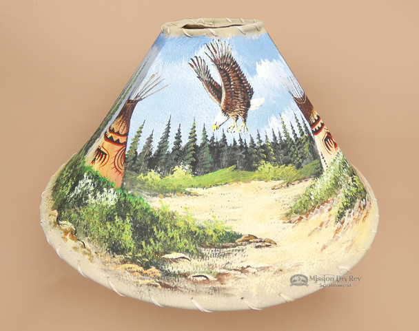 "Painted Leather Lamp Shade 20"" -Eagle Village"