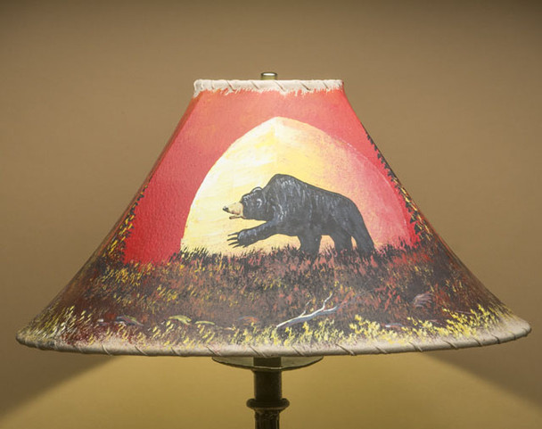 "Painted Leather Lamp Shade 18"" -Moonlit Bear (PL97)"
