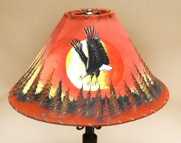 Painted Leather Lamp Shade - Sunset Eagle