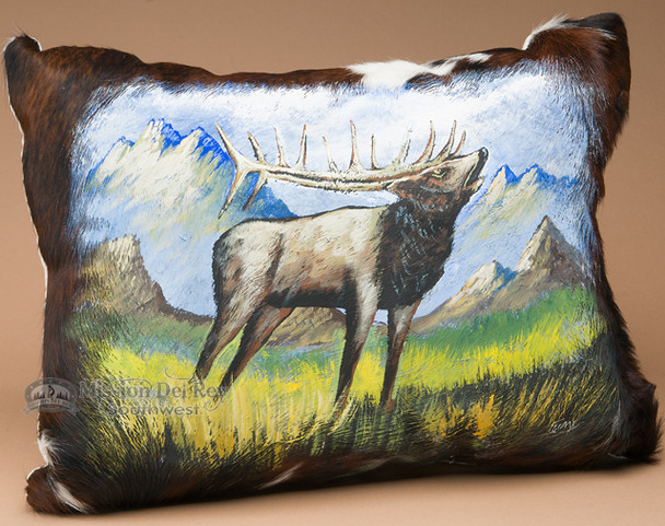 Southwestern Painted Leather Pillow -Elk