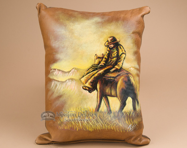 Painted Cowhide Cowboy Pillow -Riding Herd